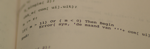 Photo of the 1988 source code of PAP (Pension Analysis Program).